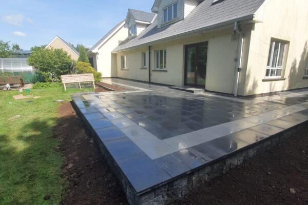 Black Granite Slabbed Patio with Silver Granite Border in Middleton, East Cork