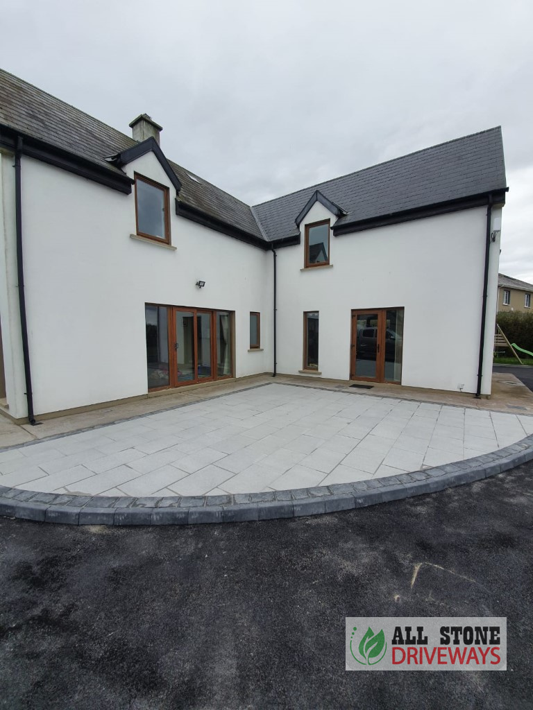 Granite Slabbed Patio with Charcoal Cobble Sets in North Cork