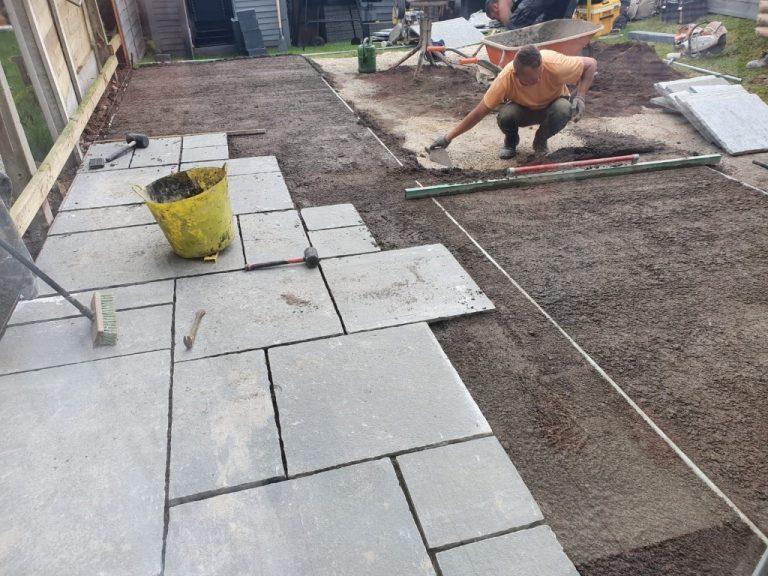 Natural Limestone Patio with a Brick Border in Glanmire, Co. Cork