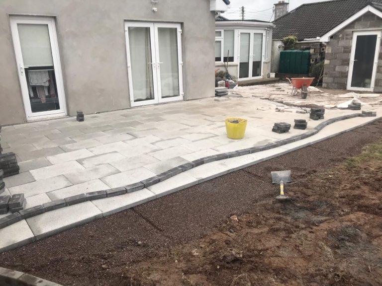 Newgrange Granite Patio with Turf Grass in Cork