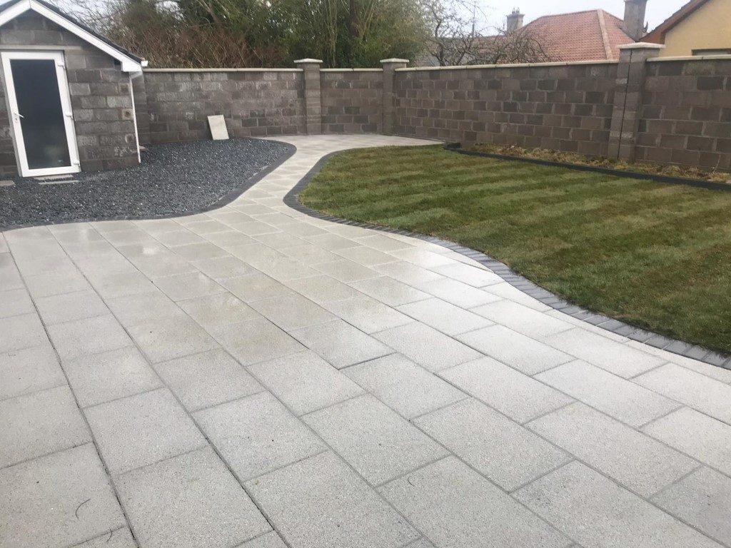 Newgrange Granite Patio with Turf Grass in Cork