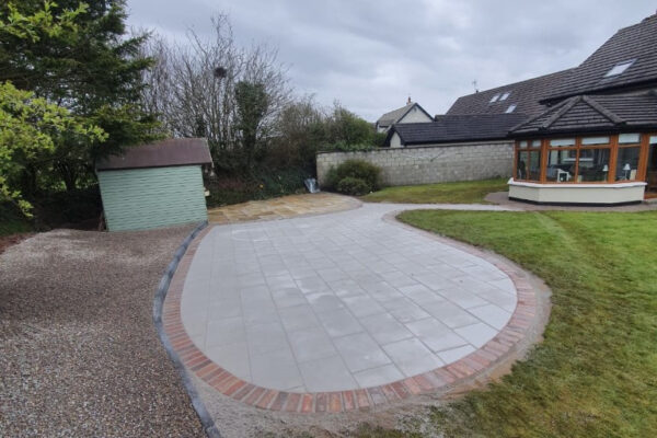 Patio with Rustic Slane Border in Cork