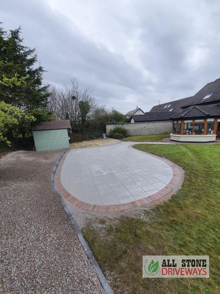 Patio with Rustic Slane Border in Cork