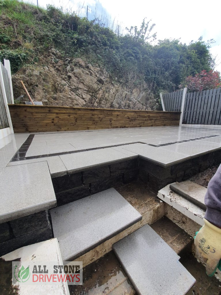 Raised Silver Granite Patio with Connemara Walling in East Cork