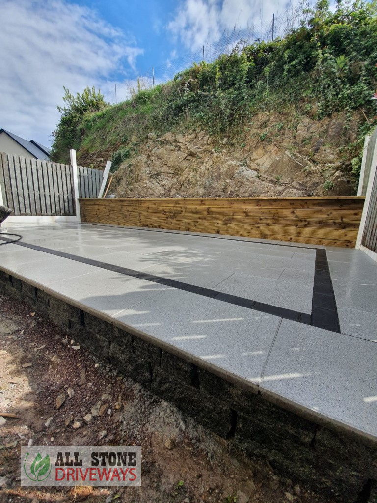 Raised Silver Granite Patio with Connemara Walling in East Cork