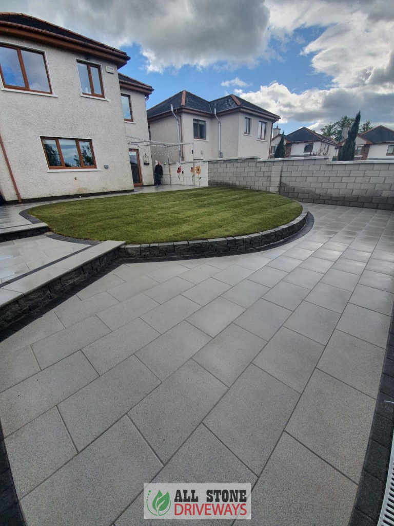 Silver Granite Patio with New Lawn in Cork City
