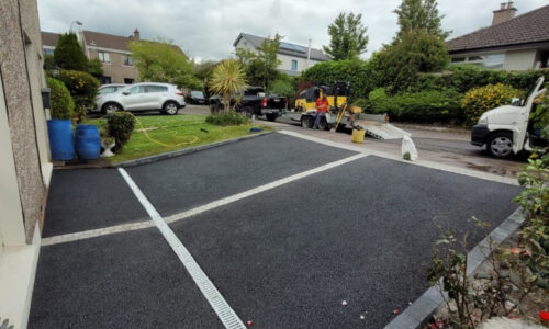Two Adjacent SMA Driveways with Cobbled Border in Cork City