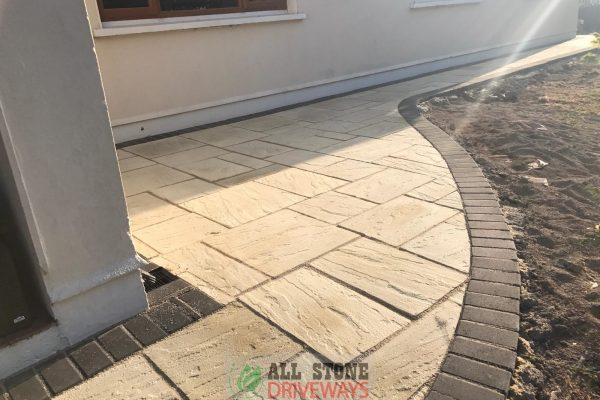 Old Priory Paving Flagstone Installation with Asphalt Driveway