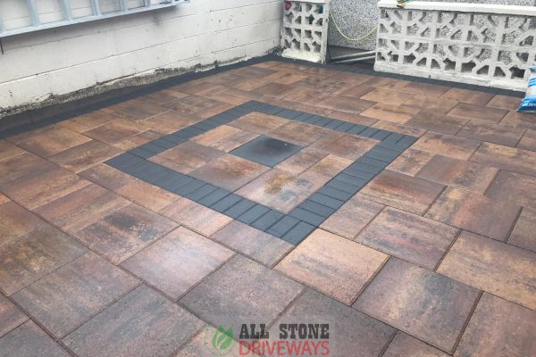 Patio Installation Completed with Curragh Gold Classic Flagstone